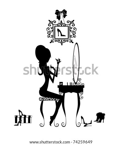 Silhouette of a pretty girl at her vanity applying makeup isolated on white