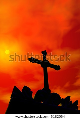 silhouette of a religious cross over a dramatic red sunset sky