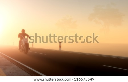 Silhouette of a rider on an orange background.