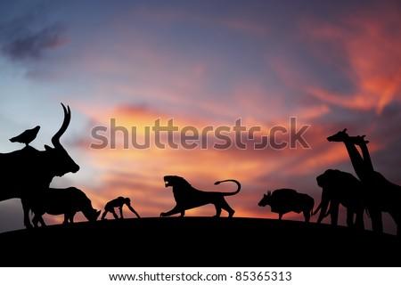 roaring lion silhouette