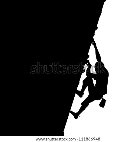 Silhouette of a rock climber on a vertical wall isolated against white.