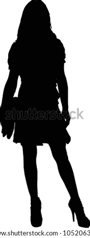 silhouette of a sexy girl with a purse standing - isolated illustration - stock photo