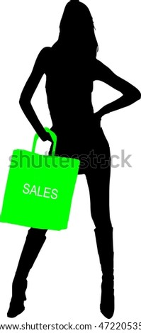 silhouette of a sexy girl with green sale shopping bag - isolated illustration