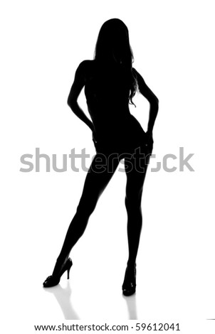 Silhouette of a Sexy Woman Modeling