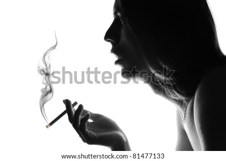 Silhouette of a smoker with a cigarette.
