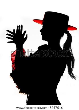 Silhouette of a Spanish flamenco dancer