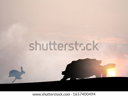 Silhouette of a sprinting rabbit chasing a crawling tortoise against a surreal sunset for the concept of slow and steady win the race.  Сток-фото ©