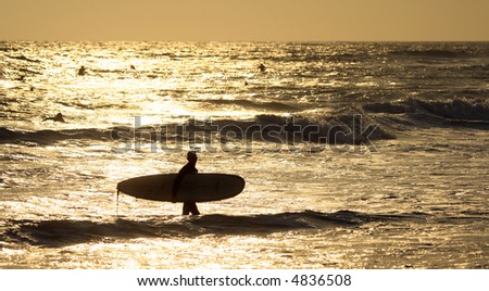 silhouette of a surfer at sunset