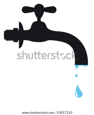 Silhouette of a tap - stock photo