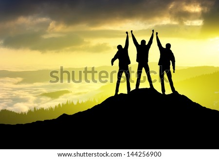 Silhouette of a team. Sport and active life concept #144256900