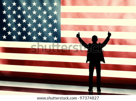 Silhouette of a thumbs up politician on american flag background