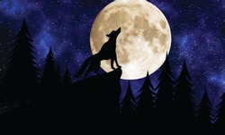 Silhouette of a wolf on a background of the starry sky and forest, howls at the moon, drawing