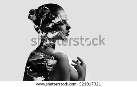 Silhouette of a woman combined with a autumn maple leaves. Double exposure, isolated on a white background. Black and white
