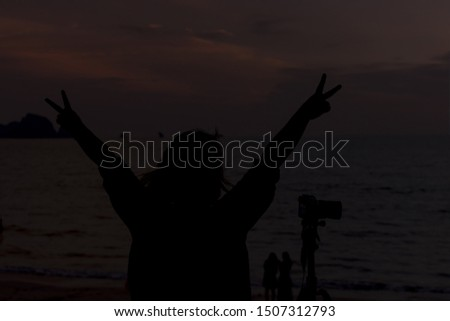 silhouette of a woman photogarphy on beach #1507312793