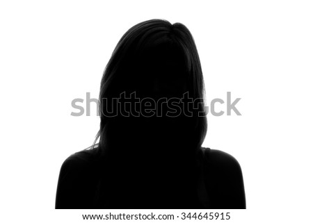 silhouette of a woman's face on a white background #344645915