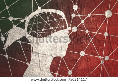 Silhouette of a woman's head. Mental health relative brochure, report design template. Scientific medical designs. Molecule And Communication Background. Connected lines with dots.