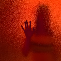 silhouette of a woman through frosted translucent glass