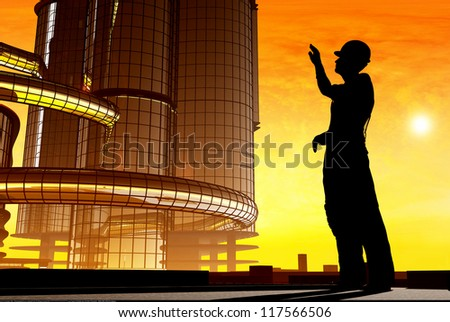 Silhouette of a worker in the background skyscrapers