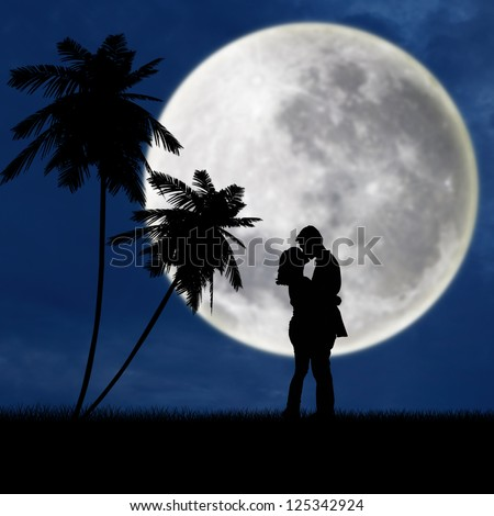 Silhouette of a young couple kissing under blue full moon at the beach