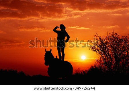 Silhouette of a young girl who is standing on a horse and looks into the distance on the background of the rising sun. Silhouette of man and horse at dawn.