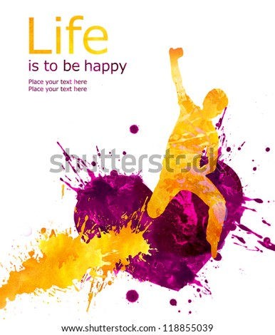 Silhouette of a young man in a jump, against splashes of watercolor paint. Life is to be happy. Good emotions.