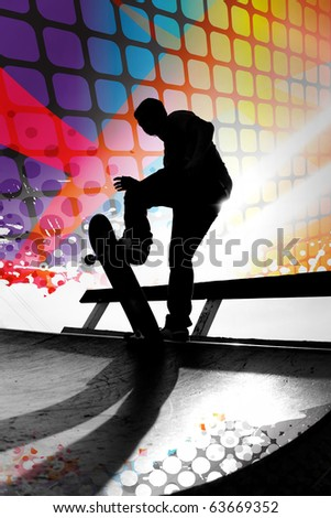Silhouette of a young teenage skateboarder going down a ramp with colorful graphic elements and grungy halftone.