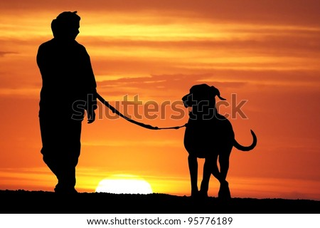 silhouette of a young woman walking her great dane dog at sunrise