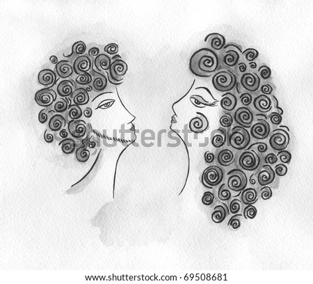 silhouette of amorous man and woman.