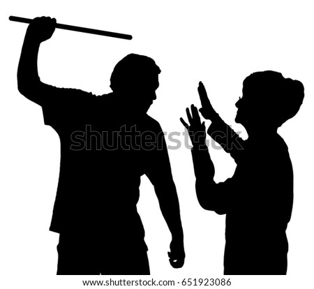 Silhouette of an elderly woman being physically abused