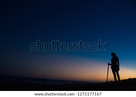 Silhouette of an explorer person