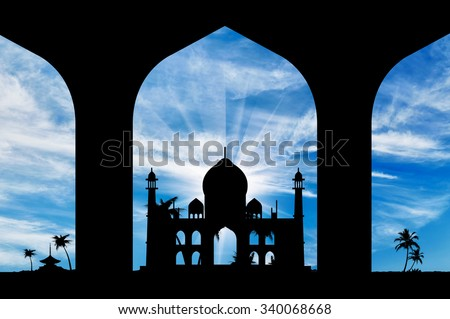 Silhouette of an Islamic prayer hall-house in the beautiful sky