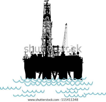 Silhouette of an oil rig in the middle of the ocean.