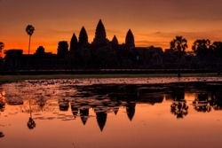 Silhouette of Angkor Wat at sunrise. Monument of Cambodia - Siem Reap
