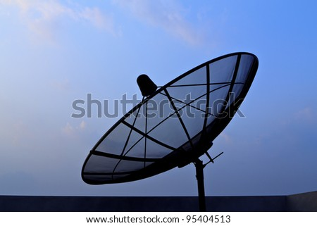 Silhouette of antenna communication satellite dish over sunset sky