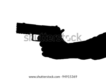 Silhouette of arm and Hand holding a Pistol - stock photo