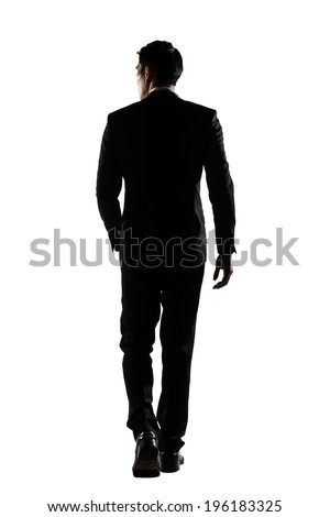 Silhouette of Asian business man walk with confidence, full length portrait isolated on white. Rear view. #196183325