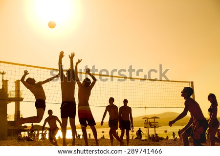 silhouette of beach Volleyball player on the beach in sunset