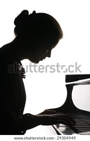silhouette of beautiful girl playing the grand piano  isolated on    Playing Piano Silhouette