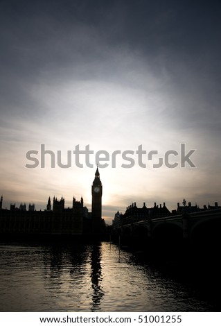 Silhouette of Big Ben and the Houses of Parliament in London in sunset