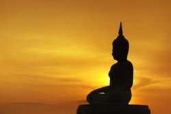 silhouette of big buddha