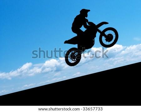 Silhouette of biker. Element of design.