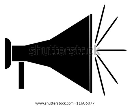 silhouette of black bullhorn or megaphone - stock photo