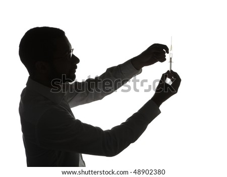 Silhouette of black doctor with medical syringe, isolated on white background.