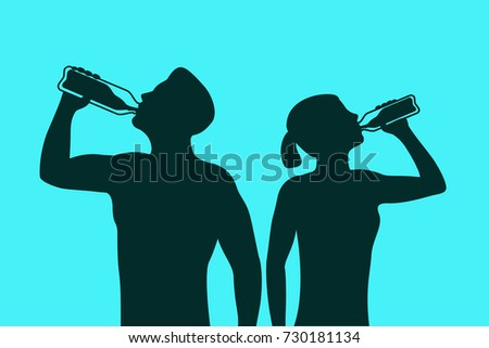 Silhouette of body man and woman drinking water. Illustration about healthy lifestyle. Healthcare banner. Young couple relaxing after sport activity