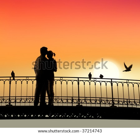 silhouette of bridge and pair of lovers on sunset background