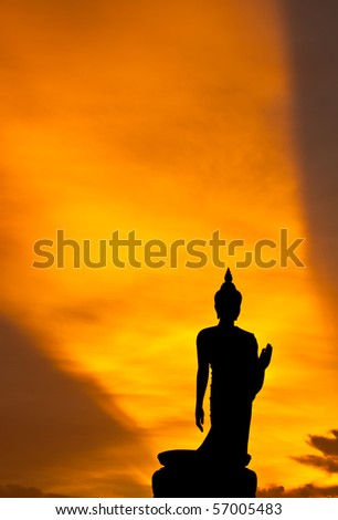 silhouette of Buddha statue, Thailand