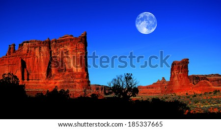 Silhouette of bush and hill in Arches National Park with full moon