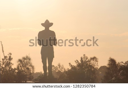 Silhouette of bushes and a Anzac monument in a soft afternoon light. The monument is an Australian World War One Digger standing guard. Remembrance Day - Anzac Day. Alan Somerville Stok fotoğraf ©