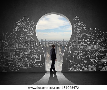 Silhouette of businessman against black wall. Idea concept