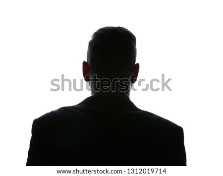 Silhouette of businessman on white background, back view #1312019714